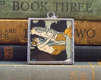 Two Mermaids Pendant - Glass Mermaid Charm - Vintage  Mermaid Art Nouveau Illustration - Mermaid Jewelry -  Fairy Tale Soldered Pendant