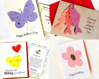 Plantable Seed Paper Cards - Thank You Card with Seeds - Your Choice Plantable Card - Friendship Happy Birthday New House Congratulations