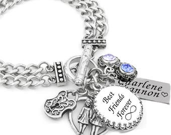 Best Friends Charm Bracelet, Personalized Jewelry, Gifts for Best Friends, Best Friends Jewelry, choose your own crystal color