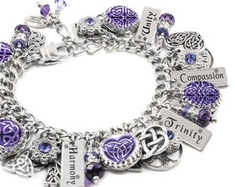 Celtic Knot Bracelet with engraved words, Harmony, Trinity, Unity, Compassion, Wisdom in stainless steel