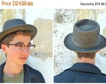 ON SALE Vintage 1930/1940 Borsalino Fedora grey felt hat  size 7 1/8