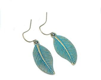 Leaf Earrings - Dangle Earrings - Woodland Jewelry - Rustic Earrings - Gift For Her