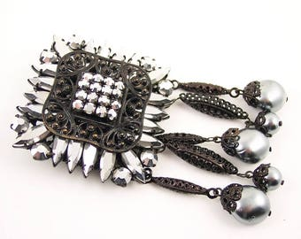 Ornate Rhinestone Filigree Brooch