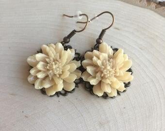 Off White Large Flower Dangle Earrings on Brass Filligree
