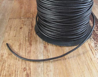 Ultra Soft Black Leather, Black Round Leather, 2mm, 6 Feet, Cord for Wrap Bracelets and Jewelry Making