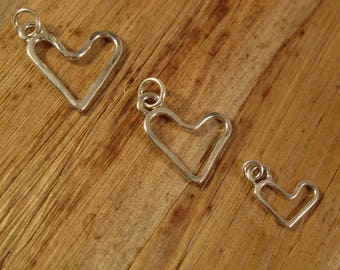 Handmade Heart Charm, Silver Heart Dangle, .925 Sterling Silver Charm, You Pick the Size! Jewelry, Charm Bracelet or Necklace (L-Mix8d