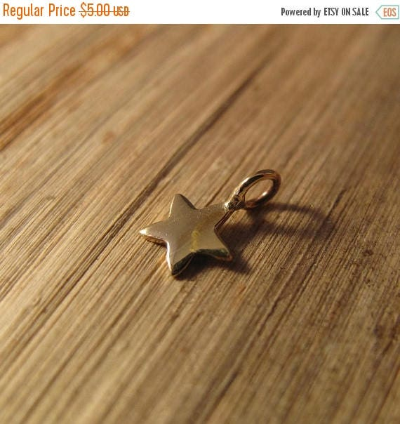 Summer SALEabration - Tiny Star Charm, Shiny Gold Natural Bronze Star Charm for Jewelry Making, 8mm x 5.2mm, Charm Necklace or Bracelet (CH