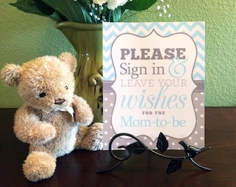 Please Sign in and Leave Your Wishes 8x10 Printed Mom-to-Be Baby Shower Guest Book Sign in Light Blue Chevron and Gray Polka Dots