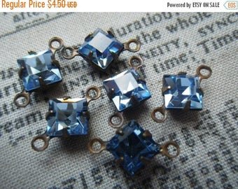 SALE 30% Off Light Sapphire Vintage Swarovski Square 6x6mm Glass Brass Ox Connector Drops 6 Pcs