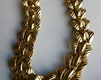 Vintage Monet Gold Plated Linked Necklace, Vintage Monet Necklace, Gold Plated Chain, Textured Necklace, Etsy, Etsy Jewelry