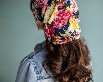 Indigo Roses Long Stretch Cowl CONVERTIBLE headwrap Garlands of Grace headcovering hair scarf