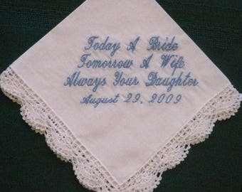ON SALE Mother of the Bride Wedding Handkerchief Gift,  Personalized wedding hankie, wedding gift for mom  80S