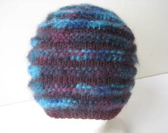 maroon wool mohair hat with teal stripes knit cap