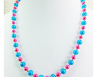 Pink Glass Pearls and Turquoise Glass Beads Necklace 21 inch long