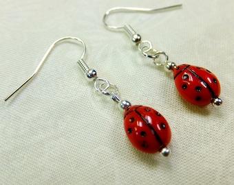 Red Glass Lady Bugs Lightweight Dangle Earrings