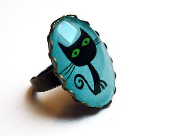 The black cat with green eyes BA104 lothario cat ring