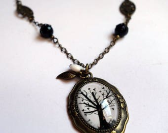 Vintage necklace, the tree with hearts