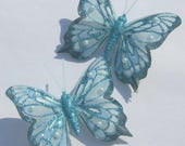 Butterfly Hair Clips blue glitter Butterfly Accessory feather butterfly hand made hair clips by Ziporgiabella