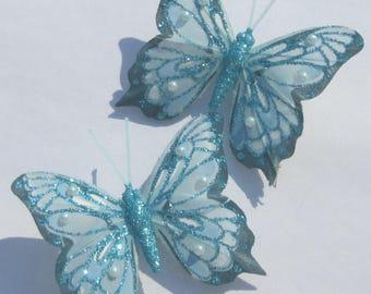 Butterfly Hair Clips blue glitter Butterfly Accessory feather butterfly hand made hair clips by Ziporgiabella