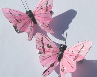 Butterfly Hair Clips Pink feather butterfly Pink Butterflies Accessory hand made hair clips Gift For Her by Ziporgiabella