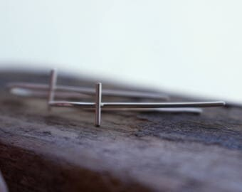 Sterling Silver Cross Dangle Hoop Earrings