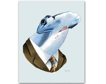 Hammerhead Shark art print 8x10