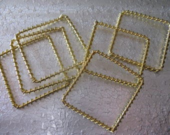 6  Twisted Square Gold Plated Metal Link Connector Earring Drop 38mm