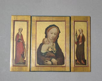 """Vintage Gilt Italian Triptych Icon Wood with Hinged Panels Virgin Mary Madonna Baby Jesus Religious Icon Made in Italy 9"""" x 13"""""""