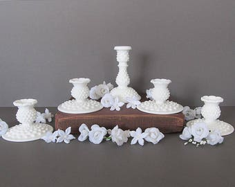 Milk Glass Hobnail Candle Holder Collection, Wedding Candlesticks, Wedding Table Decorations, Fenton Collection
