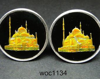 Egypt enamelled coin cufflinks Mohammad Ali Mosque 25mm