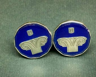 Israel coin cufflinks , 5 new Sheqalim,24mm.