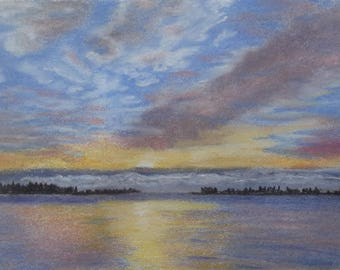 "Original pastel painting ""Daybreak on Amherst Island Number Four"" 8"" x 11"" neither mat nor frame are included"