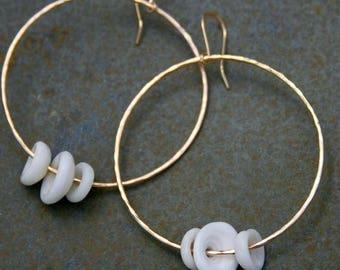 On Sale 50% Off 14k gold filled Puka Shell Hoops, Dangle Earrings, Hawaiian Jewelry, Eternity Hoops, Island Style Summer Resort Wear