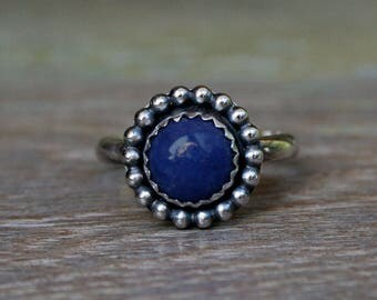 Celestial Sphere Lapis Lazuli Ring, Sterling Silver, Gemstone Ring, Deep Blue, Midnight Denim Blue