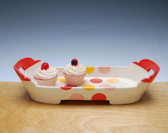Red, Tangerine, & Pink Medium Tray w. Polka Dots in Ivory, Victorian mod