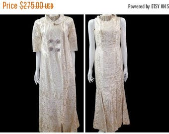 Summer Sale Vintage 60s Baroque Golden Metallic Mermaid Dress Evening Coat// Beaded Queen Gown// Gold and Ivory Satin Charmeuse Dress// Size