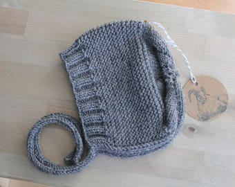 Hand Knit Size 6 months Bonnet / Cap in Medium Grey Merino / Baby Alpaca / Silk Blend Yarn
