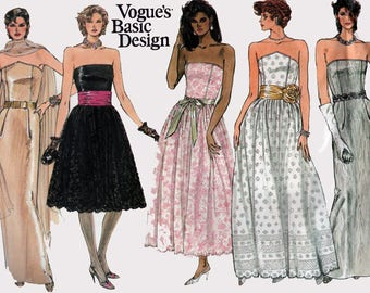 Vintage 80s Strapless Prom Dress Sewing Pattern Vogue 1494 Boned Bodice Full Skirt Sheath Maxi Evening Gown Size 6-10 Bust 32.5 UC/FF