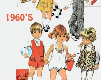 Vintage 1960s Toddlers Jumpsuit Jumper Shirt Tie Dress and Panties Sewing Pattern McCalls 2254 Childrens Mod Sewing Pattern Size 3