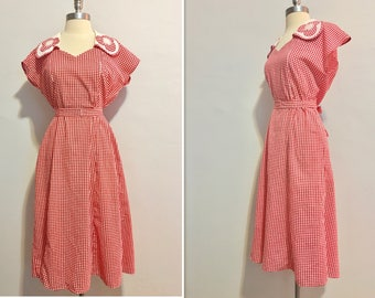 Sweet Charity Vintage 1930's  Red and White Checkered Day Dress Size Large
