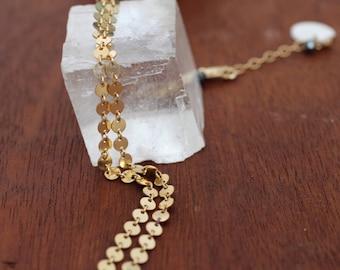 Gold Filled Choker. Mirror Circle Chain Choker. Black and Gold Minimalist Jewelry