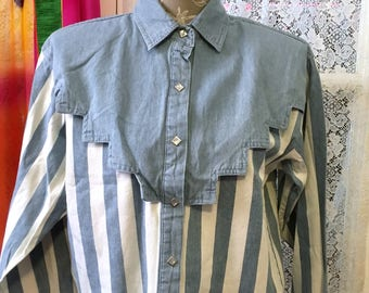 Vintage Adobe Rose Western Wear Shirt 90s Chambray Size M Cowgirl Rodeo