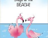 Flamingos 6x12 Fabric Art Panel - What Happens at the Beach....