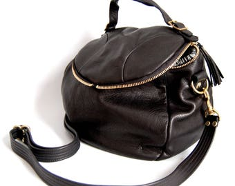 Enoki 3-in-one leather backpack bag - SS 15 collection / black