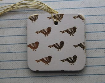 25 Gold Bird Gift Tags  patterned paper over chipboard...Prestrung Tags
