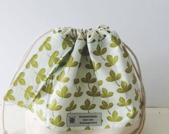 Botanical drawstring project bag/ knitting project bag/ craft bag / multi-purpose bag / drawstring bag