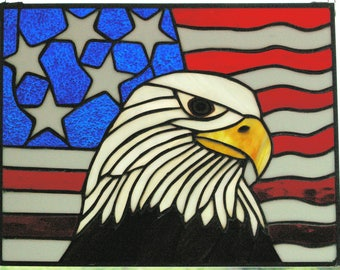 Handmade Stained Glass Suncatcher of American Flag and Eagle