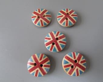 Wooden Union Jack Buttons X 5