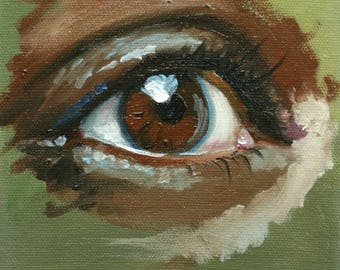 Eye 3 6x6 inch original portrait figure oil painting by Roz