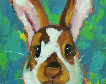 Rabbit painting 75  12x16 inch original oil painting by Roz